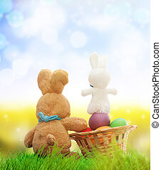 Happy Easter. - Colorful decorated easter eggs on green...