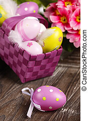 easter decoration with eastereggs