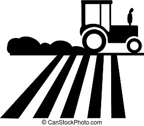 Tractor Silhouette - Silhouette of a tractor running on the...
