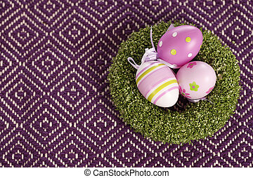 Easter eggs on a table