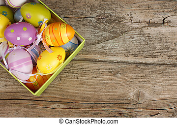 Easter basket with eggs - Easter basket with colorful eggs