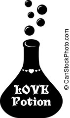 Love potion - Flask of love potion as greeting card for...