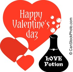 Valentines day card - Valentines greeting card with flask of...