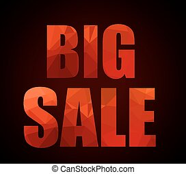 Big Sale promotional slogan with Low Poly letter textures...