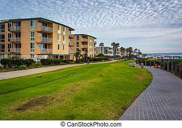 Buildings along a walkway at Pacific Beach, California