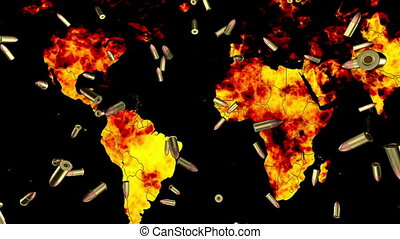 World in flames falling bullets - Looping World in flames...