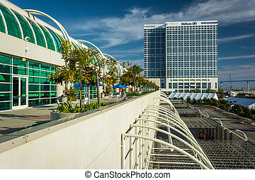 The exterior of the Convention Center in San Diego, California.