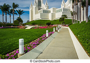 Gardens and path at the Church of Jesus Christ of Latter-Day...