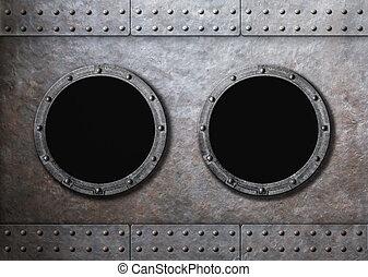 submarine old ship two portholes background - submarine or...