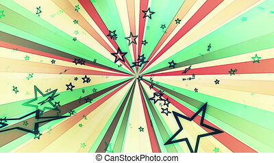 Stars Retro Multicolor Loop - Animated Stars Retro...