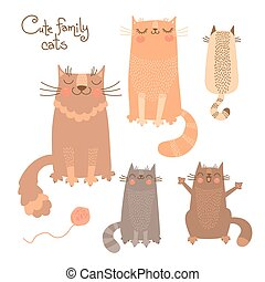 Cute set with cats and kittens. Vector illustration.