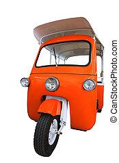 Thailand three wheel native taxi named Tuk Tuk isolated on...