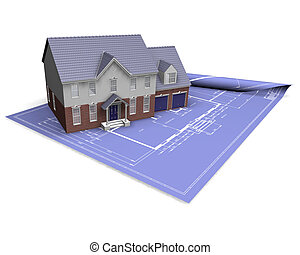House on blueprint - 3D render of a modern house on...