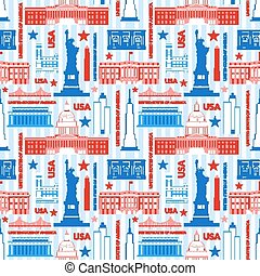 Landmarks of United States of America vector colorful...