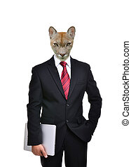 business man with animal head isolated on white background
