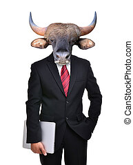 business man with animal head isolated - business man with...