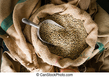 Raw Coffee Beans Seeds Bulk Burlap Sack Production Warehouse...