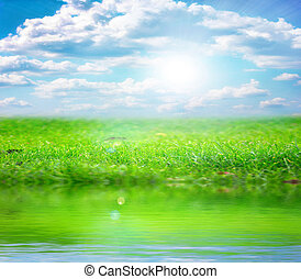 river and sky - beautiful blue sunny sky and the surface of...