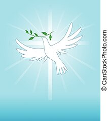Dove - Peace dove on the cross background