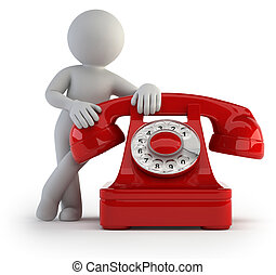 3d small people - call by telephone - little man waiting for...