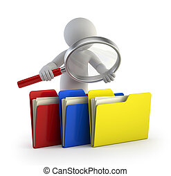 3d small people - examines files - little man looks for...