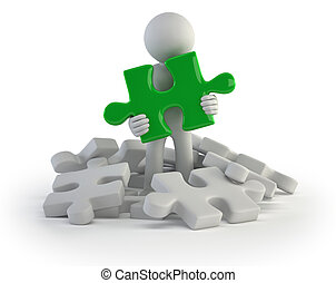 3d small people - found puzzle - little man found the right...