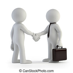 3d small people - handshake - little man gets a job Isolated...
