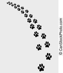 trail of cat 2 - Black trail of cat, turn left, vector