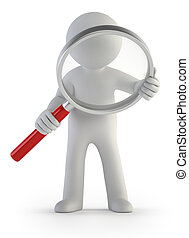3d small people - magnifier - a little man with a magnifying...