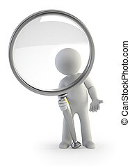 3d small people - magnifying glass - little man looking...