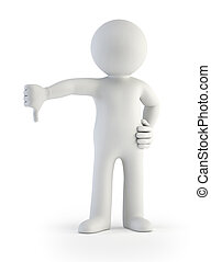 3d small people - no - a man shows a gesture that he against