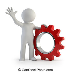 3d small people - one gear - little man and one gear,...