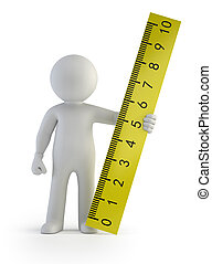 3d small people - ruler in hand, Isolated white background