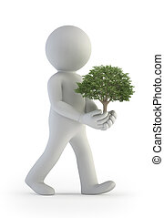 3d small people - tree in hand - a little man holding a...