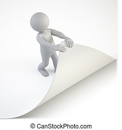 3d small people - try to turn the page - a little man trying...