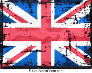 union jack - grunge background - union jack - illustration