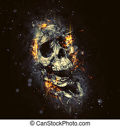 Skull in Flames as Conceptual Spooky Horror Halloween image
