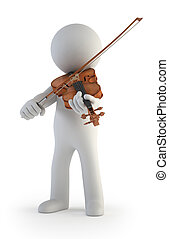 3d small people - Violin - little man is learning to play...