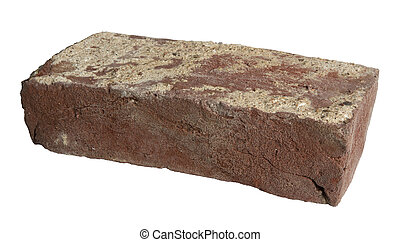Old red brick isolated - Single old red brick isolated on...