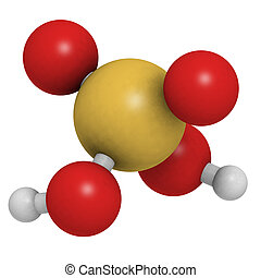 Sulfuric acid H2SO4, oil of vitriol molecule, chemical...