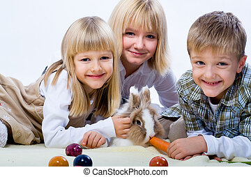eastern rabbit - kids and a eastern rabbit