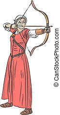 vector woman archer - Archer woman in a red dress shoots a...