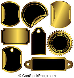 Set golden and black  labels  (vector)