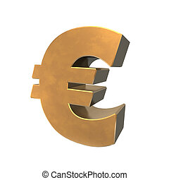 Euro symbol in 3d and gold.