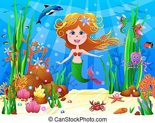 The little Mermaid - The Little Mermaid swims under water...