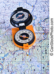 The magnetic compass and topographic map Travel compass and...