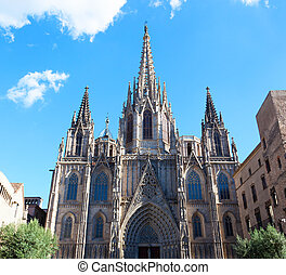 Gothic Catholic Cathedral Facade Steeples Barcelona...