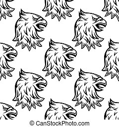 Seamless pattern with head of heraldic eagle on white...