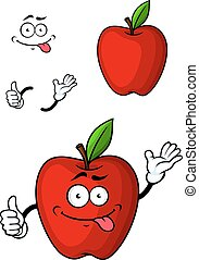 Cartooned red apple fruit character with funny face and...