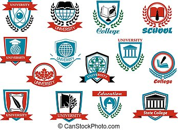 School, university or college emblems and symbols - School,...